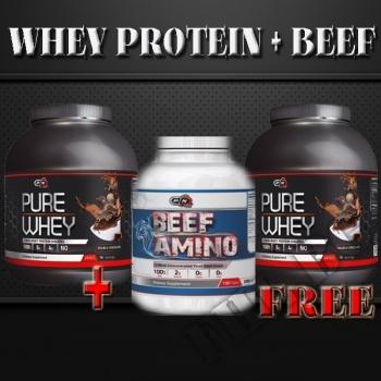 Действие на Pure Whey два броя от  5 lb+Beef amino мнения.Най-ниска цена от Fhl.bg-хранителни добавки София