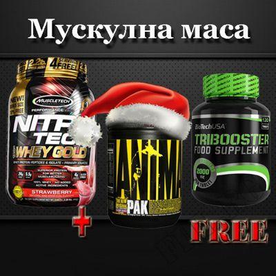 NitroTech Whey Gold 2.2lbs + Tribooster 120 подарък Animal Pak Powder