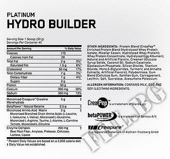 Съдържание » Дозировка » Прием » Как се пие » Platinum Hydrobuilder 2080g » Optimum Nutrition »   Суроватъчен изолат