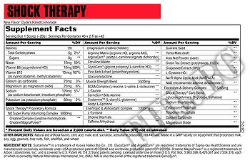 Съдържание » Дозировка » Прием » Как се пие » Shock Therapy 400g » Universal Nutrition » Азотни бустери
