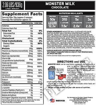 Съдържание » Дозировка » Прием » Как се пие » Monster Milk 2lb » Cytosport » Казеин