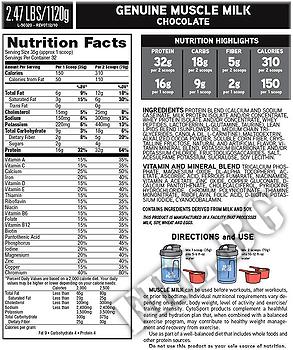 Съдържание » Дозировка » Прием » Как се пие » Muscle Milk 5.000 lbs » Cytosport » Казеин