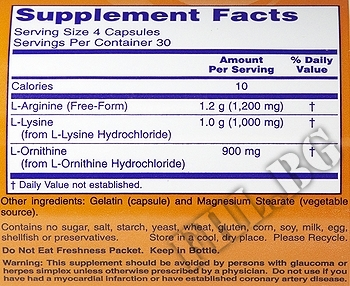 Съдържание » Дозировка » Прием » Как се пие » Tri-Amino Arginine/Ornitine/Lysine 60 caps » Now Foods » Стимулатори хормон на растежа