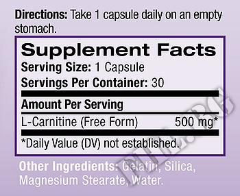 Съдържание » Дозировка » Прием » Как се пие »  L-Carnitine 500mg  » Natrol » Л-карнитин