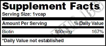 Съдържание » Дозировка » Прием » Как се пие » Biotin 500mcg 60 Vcaps » Haya labs » Витамин B7