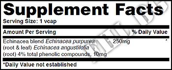 Съдържание » Дозировка » Прием » Как се пие » Echinacea 250mg 60 Vcaps » Haya labs » Ехинацея