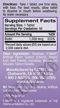 Съдържание » Дозировка » Прием » Как се пие » Биотин 1000mcg 100 tab » Natrol » Витамин B7