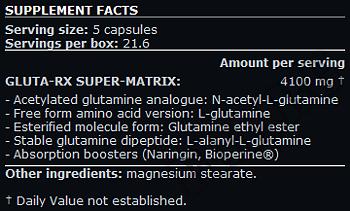Съдържание » Дозировка » Прием » Как се пие » Gluta RX » Scitec » Глутамин на капсули