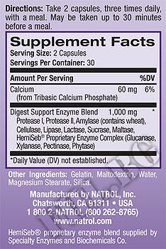 Съдържание » Дозировка » Прием » Как се пие » Digest Support » Natrol » Храносмилане ензими и пробиотици