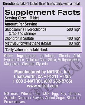 Съдържание » Дозировка » Прием » Как се пие » Глюкозамин / Хондроитин / МСМ  » Natrol » Стави и сухожилия