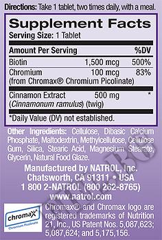 Съдържание » Дозировка » Прием » Как се пие » Cinnamon-Chromium-Biotin  » Natrol » Диабет