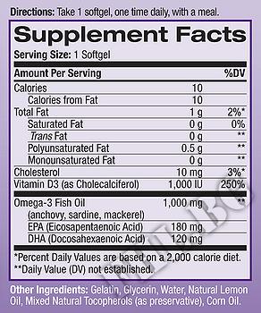 Съдържание » Дозировка » Прием » Как се пие » Рибено масло + Витамин D3  » Natrol » Омега 3 Рибено масло