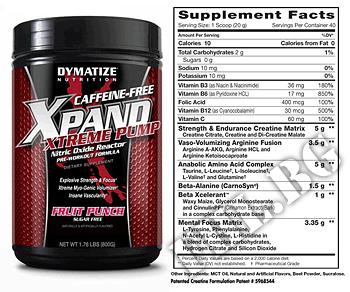 Съдържание » Дозировка » Прием » Как се пие » Xpand Xtreme Pump Caffeine-Free » Dymatize  » Азотни бустери