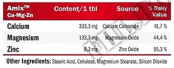 Съдържание » Дозировка » Прием » Как се пие » Calcium-Mg-Zn  » AMIX » Калций