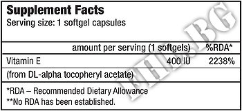 Съдържание » Дозировка » Прием » Как се пие » Vitamin E 400 IU BT » BioTech USA » Витамин Е