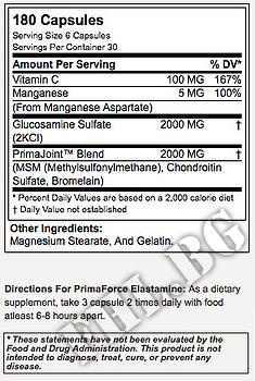 Съдържание » Дозировка » Прием » Как се пие » Primaforce elastamine 180 caps » Primaforce » Стави и сухожилия