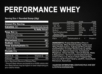 Съдържание » Дозировка » Прием » Как се пие » 100 % Performance-whey-шоколад » Optimum Nutrition » Суроватъчен протеин