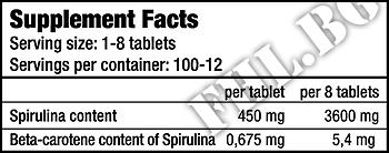Съдържание » Дозировка » Прием » Как се пие » Spirulina 100 Tablets 450 mg » BioTech USA » Зелени Храни