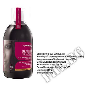 Съдържание » Дозировка » Прием » Как се пие » Beauty collagen-манго-пъпеш » Myelements » Колаген
