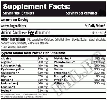 Съдържание » Дозировка » Прием » Как се пие » EGG Amino 6000-900 tabs » AMIX » Яйчни аминокиселини