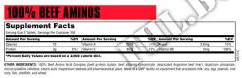 Съдържание » Дозировка » Прием » Как се пие » 100 % Beef aminos 200 tablets » Universal Nutrition » Телешки аминокиселини