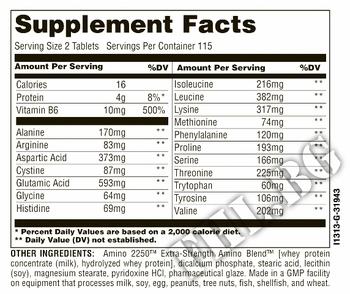 Съдържание » Дозировка » Прием » Как се пие » Amino 2250 100tab » Universal Nutrition » Комплексни аминокиселини