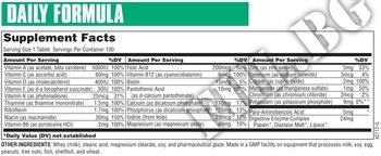 Съдържание » Дозировка » Прием » Как се пие »  Daily Formula 100tab » Universal Nutrition » Мултивитамини