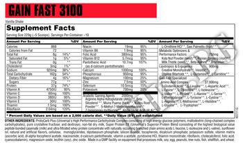 Съдържание » Дозировка » Прием » Как се пие » GAIN FAST 3100  2,3 кг » Universal Nutrition » Гейнъри