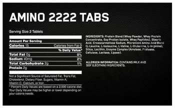 Съдържание » Дозировка » Прием » Как се пие » Amino 2222 Tabs NEW » Optimum Nutrition » Комплексни аминокиселини