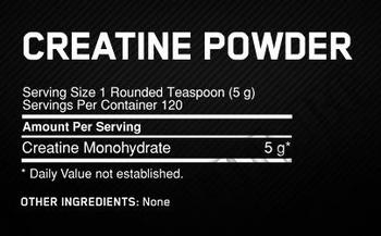 Съдържание » Дозировка » Прием » Как се пие » Creatine Powder 600 г Optimum » Optimum Nutrition » Креатин монохидрат