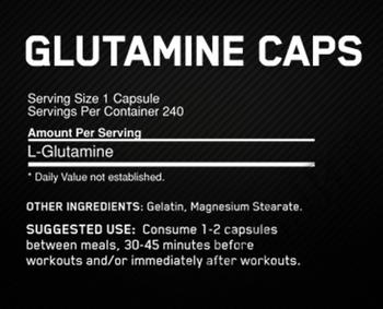 Съдържание » Дозировка » Прием » Как се пие » Glutamine 1000 240 caps » Optimum Nutrition » Глутамин на капсули