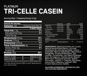 Съдържание » Дозировка » Прием » Как се пие » Platinum Tri-Celle Casein » Optimum Nutrition » Казеин