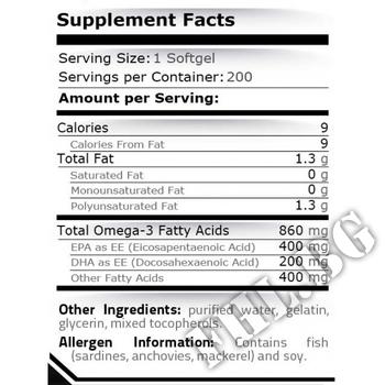 Съдържание » Дозировка » Прием » Как се пие » Fish Oil 400 EPA / DHA 200 -100 Softgels » Pure Nutrition » Омега 3 Рибено масло