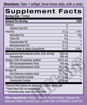 Съдържание » Дозировка » Прием » Как се пие » Glucosamine Omega-3 90 softgels » Natrol » Стави и сухожилия