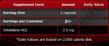 Съдържание » Дозировка » Прием » Как се пие » 100% Pure yohimbine 200 caps » Pure Nutrition » Йохимбин