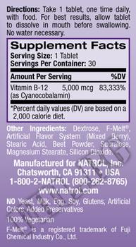 Съдържание » Дозировка » Прием » Как се пие »  Vitamin B12 5000 mcg Fast Dissolve  » Natrol » Витамин B12