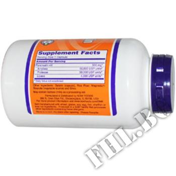 Съдържание » Дозировка » Прием » Как се пие »  Pancreatin » Now Foods » Храносмилане ензими и пробиотици