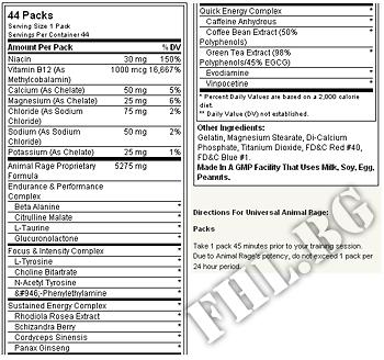 Съдържание » Дозировка » Прием » Как се пие » Universal animal  rage 44 packs. » Animal Universal » Азотни бустери