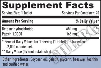 Съдържание » Дозировка » Прием » Как се пие » Betaine HCL 650mg  90 Tabs » Haya labs » Храносмилане ензими и пробиотици