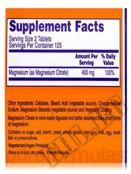 Съдържание » Дозировка » Прием » Как се пие »  Magnesium Citrate 250 tab » Now Foods » Магнезий