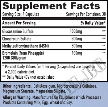 Съдържание » Дозировка » Прием » Как се пие » Глюкозамин Хондротин и МСМ 120 Caps » Haya labs » Стави и сухожилия