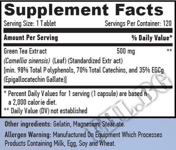 Съдържание » Дозировка » Прием » Как се пие » Зелен чай 120таб » Haya labs » Билки за отслабване