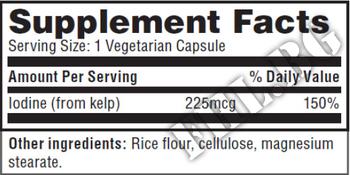Съдържание » Дозировка » Прием » Как се пие » Iodine from Kelp 225mcg 250 Vcaps » Haya labs » Витамини и минерали