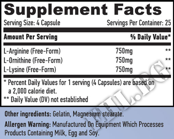 Съдържание » Дозировка » Прием » Как се пие » L-Arginine L-Ornithine L-Lysine 100 Caps  » Haya labs » Стимулатори хормон на растежа