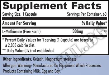 Съдържание » Дозировка » Прием » Как се пие » L-Methionine 500mg 60 Caps  » Haya labs » Есенциални аминокиселини