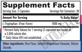 Съдържание » Дозировка » Прием » Как се пие » L-Tryptophan 500mg 60 Caps » Haya labs » Нервна Система