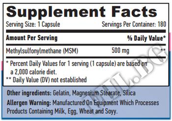 Съдържание » Дозировка » Прием » Как се пие » MSM 500mg 180 Vcaps » Haya labs » Стави и сухожилия