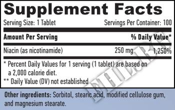 Съдържание » Дозировка » Прием » Как се пие » Niacin Time Release 250mg 100 Tabs » Haya labs » Витамин B3