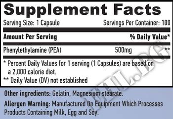 Съдържание » Дозировка » Прием » Как се пие » Phenylethylamine 500mg 100 Caps » Haya labs » Добро настроение