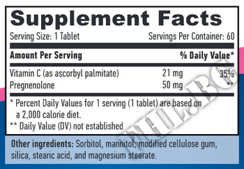 Съдържание » Дозировка » Прием » Как се пие » Pregnenolone 50mg 60 Caps » Haya labs » ДХЕА
